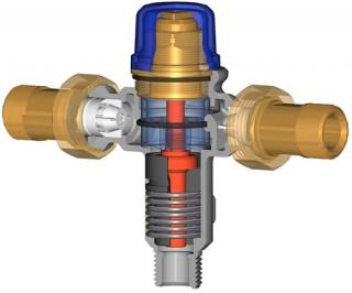 Tempering Valve Cutaway: Cut-away showing the innerds of the Reliance IS102 tempering valve.